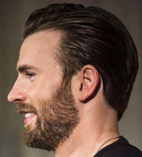 chris evans comb over slick back hairstyle