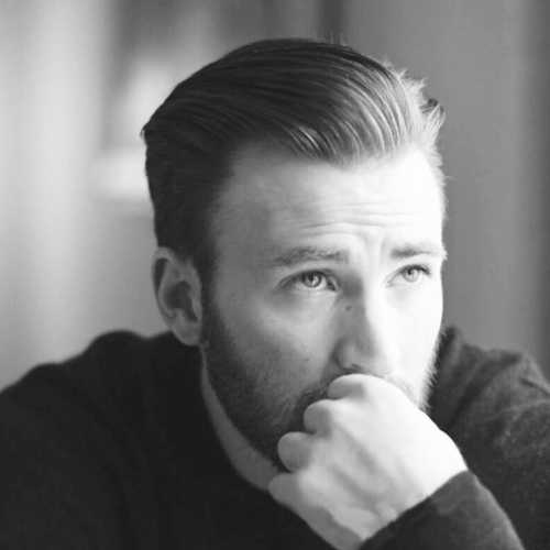 chris evans haircut side part hairstyle slick back