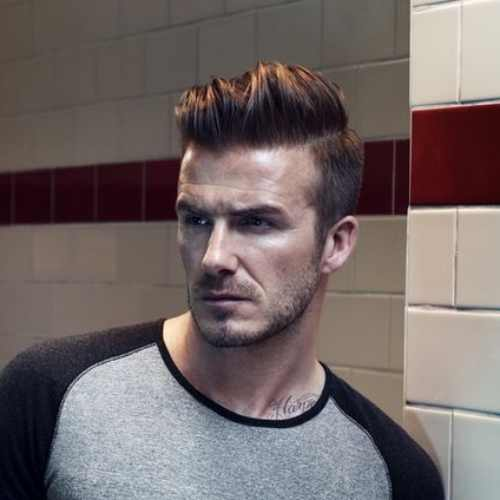david beckham pompadour hairstyle side part haircut