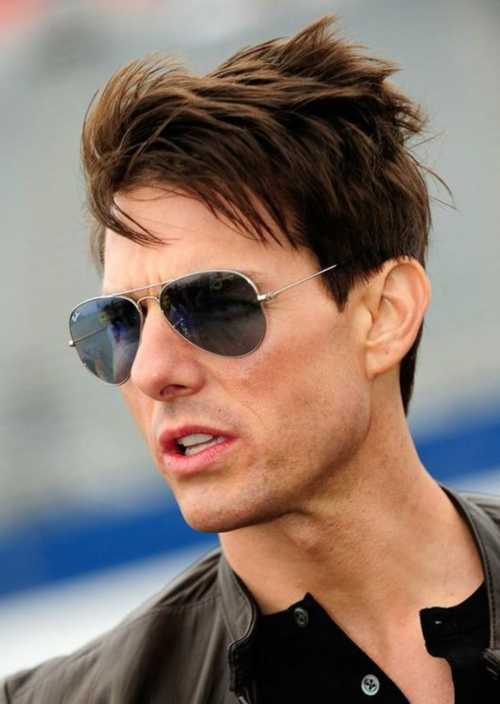 tom cruise medium length layers messy hairstyle