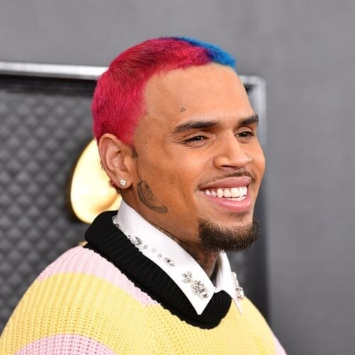 chris brown new funky rainbow colored hairstyle
