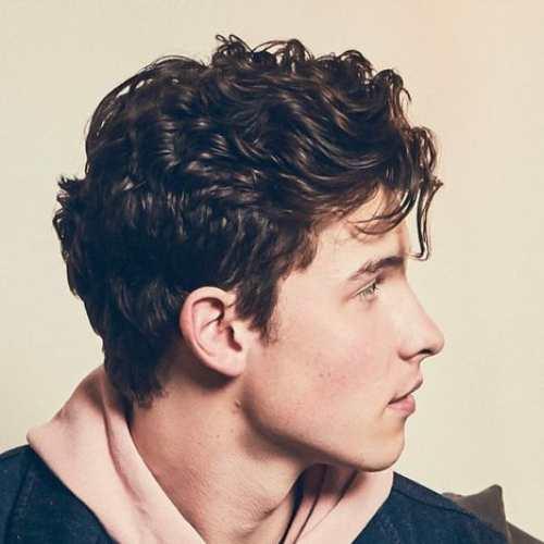 shawn mendes haircut curly hair side view