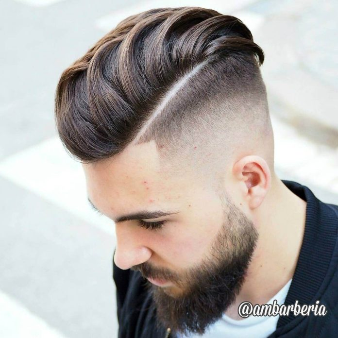 ambarberia undercut fade haircut shaved line with beard