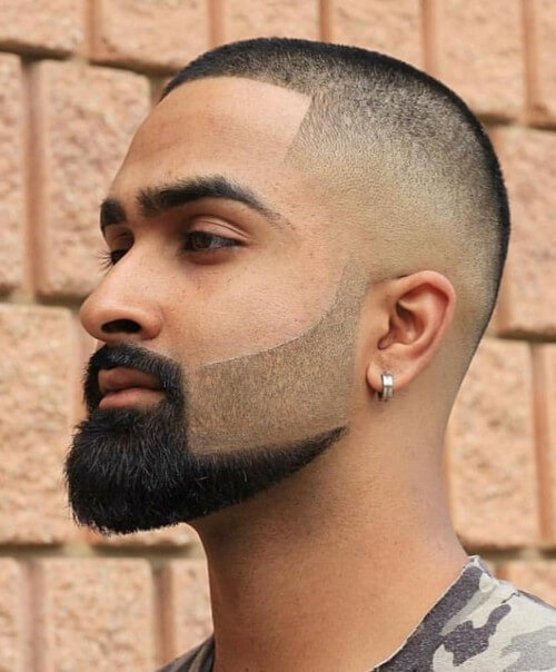 bald fade beard design haircut high buzz cut hairstyle