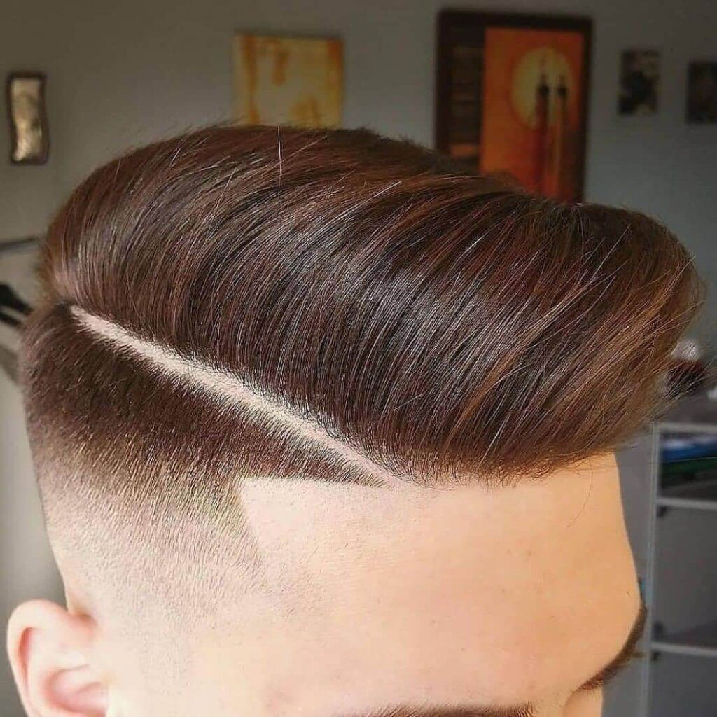 haircutsboyz mid fade high comb line part low mid fade