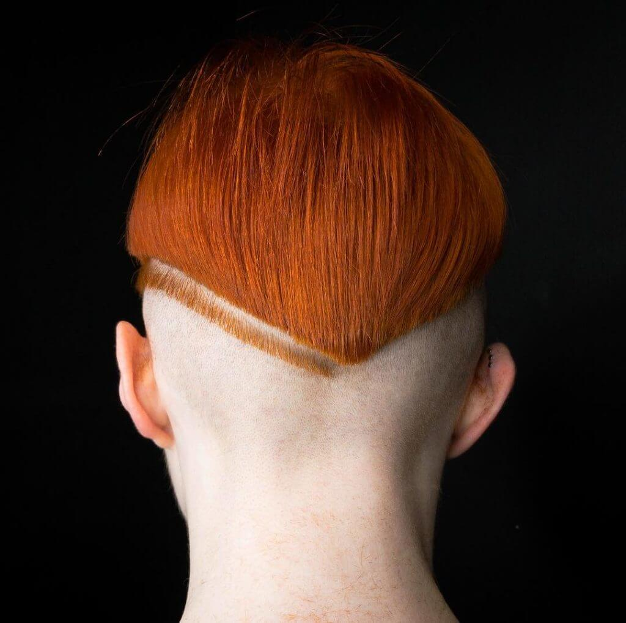 rumbarber pineapple haircut red hair men bald back design