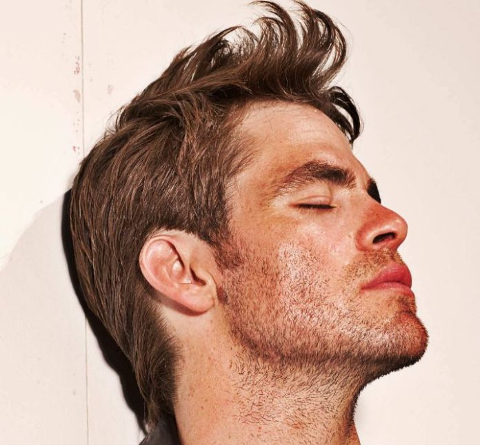chris pine messy length lined hairstyle