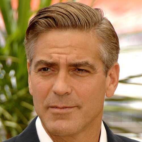 george clooney curved comb haircut