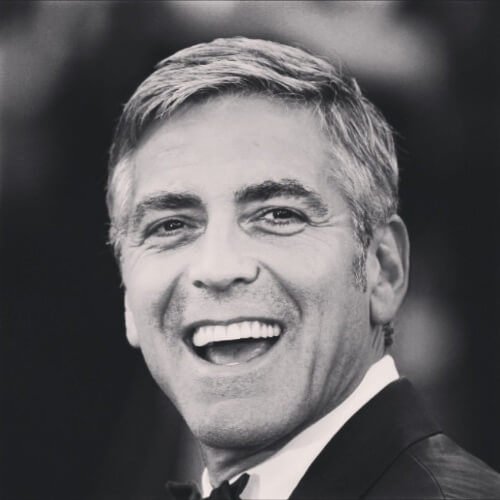 george clooney short length one side hair
