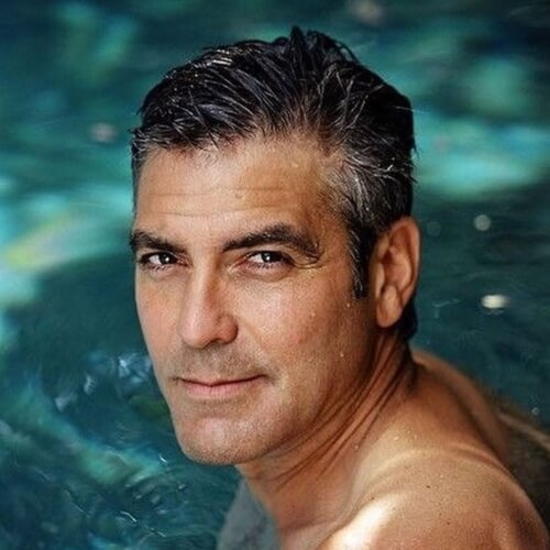 george clooney stylish textured hair