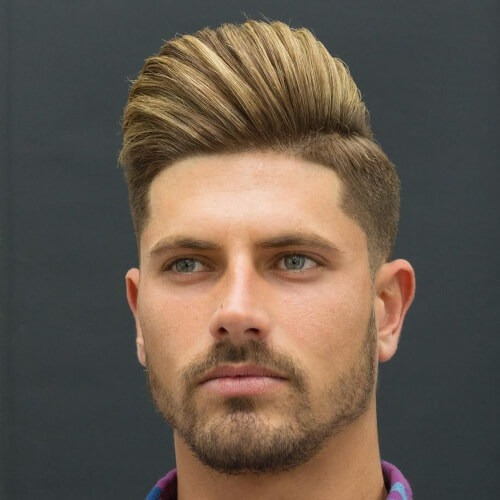 hispanic men's haircuts with pompadour blonde hair