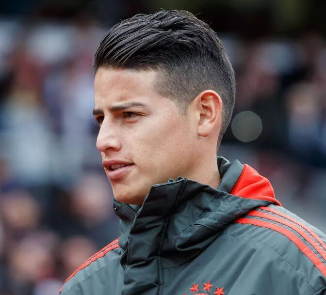 james rodriguez hairstyle with short slicked back hair