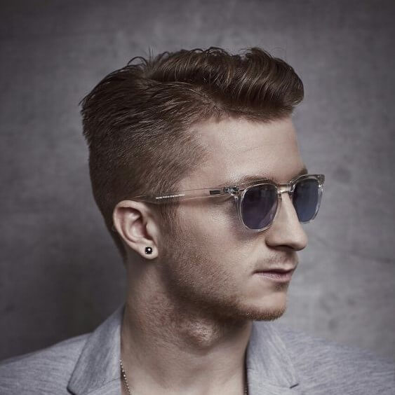 marco reus gentleman style side part low fade cut