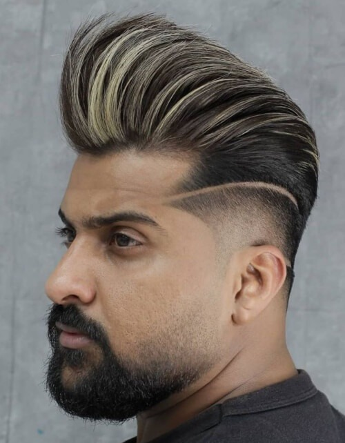 mexican pompadour hairstyle side part razor cut fade burst